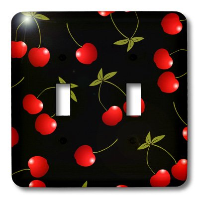 3dRose lsp_24730_2 Cherry Print Juicy Red Cherries On Black Double Toggle Switch