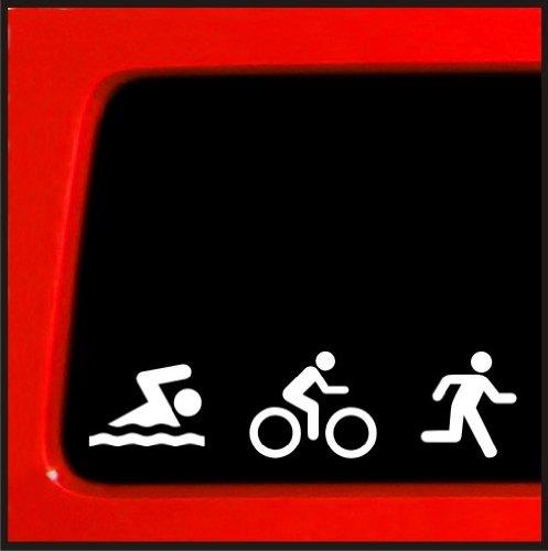 Triathlon decal swim bike run bumper sticker car window for 13 1 window sticker