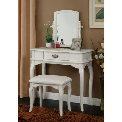 Coreen Vanity Table with Matching Stool Finish: White