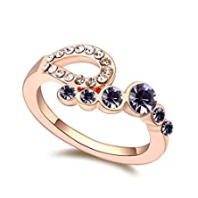 """buy Topro """"Love Songs""""Fashion Style Crystal Ring Color Gold& Purple"""