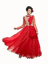 Parinaaz fashion Red soft net fabric Unsticht Dressmaterial