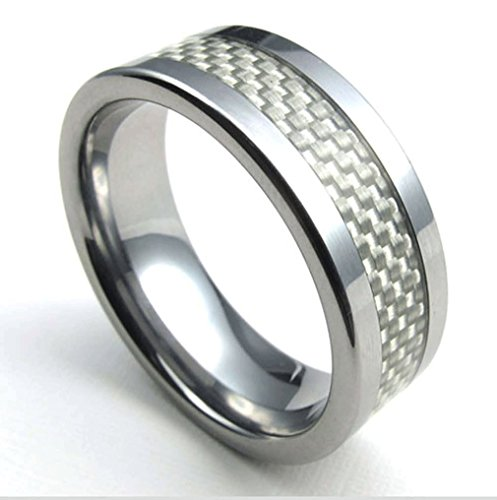 LBFEEL Carbide Ring White Carbon Fiber Inlay Beveled Edge, Men's Wedding Band (10)