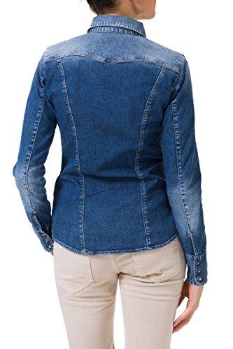 GAS MARAH NEW W139 Camicia donna a maniche lunghe in denim jeans con logo