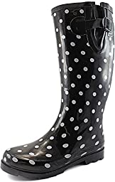Women\'s Puddles Rain and Snow Boot Multi Color Mid Calf Knee High Rainboots,Blk Wht Polka 11 B(M) US