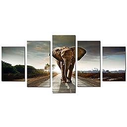 Cao Gen Decor Art-AD40724 5 panels Framed Wall Art Elephant print on Canvas