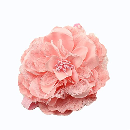 BELLAZAARA Baby Girl Big Flower SIlk Lace Headband : PINK