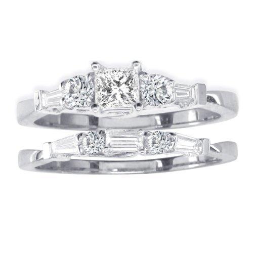 SuperJeweler 14K White Gold Diamond Bridal Set With 1/4ct Center Diamond 2/3 cttw