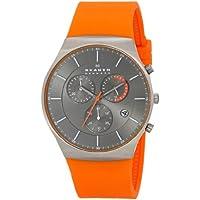 Skagen SKW6074 Men's Balder Titanium Watch with Orange Silicone Band