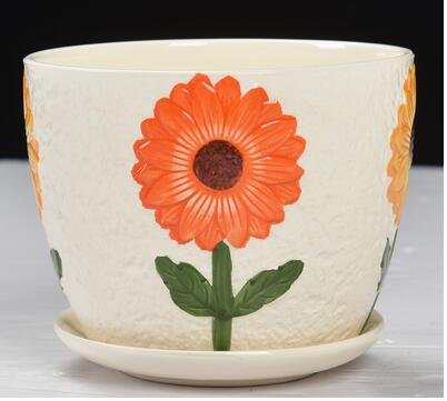 Ceramic Round Flower Pot with Tray with Big Yellow Flower, Outdoor Garden Plant Containers, Handmade (Large Decorative Flower Pots compare prices)