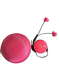 BLAU FÃœNF Tangle Free Retractable Stereo Earphone with Mic and Clip with Zipper Pouch, Ruby Pink