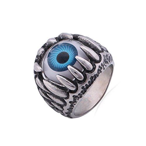 U7ファッションジュエリー クラシック リング 指輪 ゴシック 悪魔 目 青い316Lステンレス メンズ アクセサリー[GR380] (23)