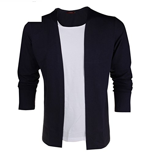 Vazpue Shirts Men's Long Sleeve T Shirts False Two Pieces Patchwork Contrast Color Autumn Casual Slim Style Cotton Men Tops Tees Dark (Morph Suit Sizing)