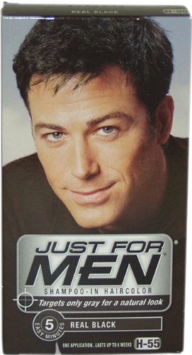 Just for Men Shampoo-In Hair Color, Real Black 55, 1 application Case of 3