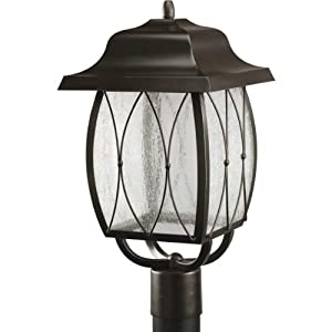 LED Outdoor Lighting: Progress Lighting Large Led Post Lantern with Antique Bronze and Clear-Distressed Glass