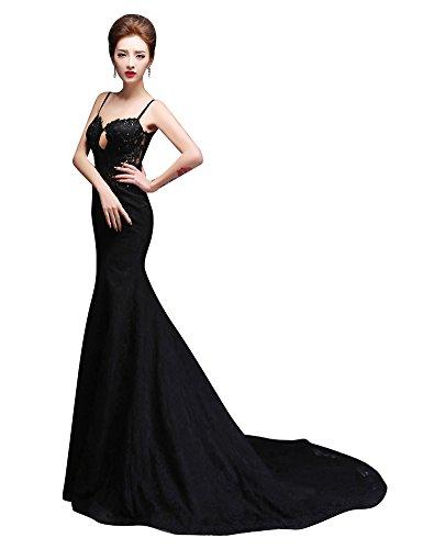 Beauty-Emily Maxi Spaghetti Strap Lace Applique Bead Sequin Chapel Tailing  Mermaid Sleeveless Hook   Eye Elegant Formal Wedding Dresses Color  Black 580dd8f88