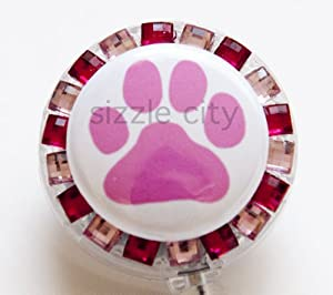 PINK DOG FOOT PRINT/ PAW Rhinestone Retractable Badge Reel/ ID Badge Holder