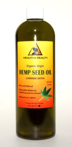 Hemp Seed Oil Organic Virgin Carrier Cold Pressed Unrefined Pure 16 Oz front-853095