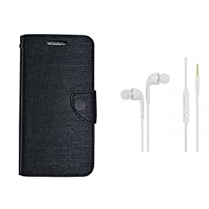 CellRize Flip Cover For Samsung Galaxy J7 Prime With White Headphones-Black
