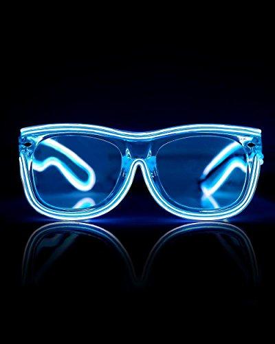 Emazing Lights 2-Color Light Up EL Wire Wayfarer Rave Glasses (Blue/White)