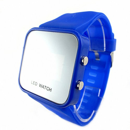 Youyoupifa Colorful Exquisite Appearance Digital Led Mirror Watch With Soft Rubber Material (Navy Blue)