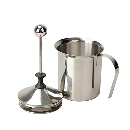 Milk Frother, PYRUS 400ML Stainless Steel Double Mesh Coffee Milk Foamer Cup (Metal Milk Steamer Cup compare prices)
