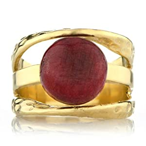 Leigh's Ruby Corundum Three Band Gold Right Hand Ring Size 6