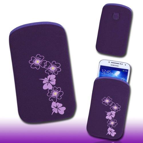 Handy Tasche lila/violett E2-3 für Samsung C3312 Rex60 / S5222R Rex80 / Galaxy Young S6310 / Galaxy Young Duos S6312 / Galaxy Pocket Plus S5301 / Samsung Galaxy Pocket Neo S5310 / Alcatel OT 903D / Alcatel OT Star 6010D