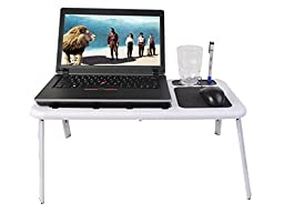 Safstar Foldable Laptop Table Notebook Stand with 2 Cooling Fans Mouse Pad and Glass Holder