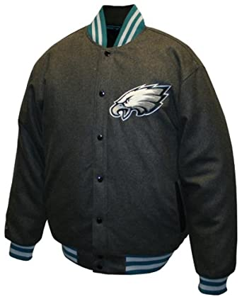 NFL Mens Philadelphia Eagles Charcoal Dual Edge Reversible Wool Jacket by MTC Marketing, Inc