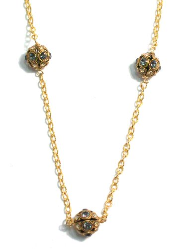 Pearlstone 14K Gold Filled Vintage Inspired Pave Crystal Ball Strand Necklace With 3 Black Diamond and Clear Swarovski Crystals