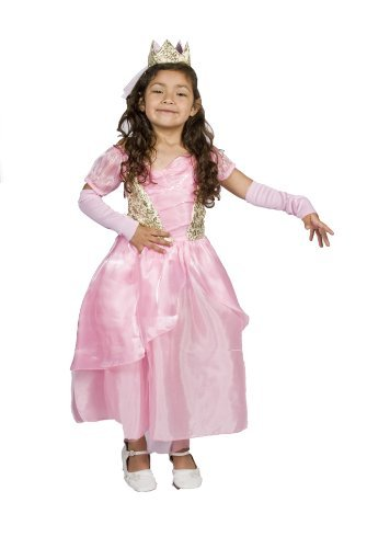 Girls Pink Princess Halloween Costume Free Tiara,sleeve Size M (6-8) Years