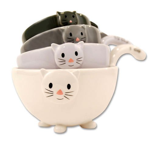 Cat Kitten Measuring Cups / Bowls for Baking, Black White Grey, Ceramic