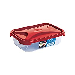 Wham Cuisine Rectangular Food Storage Plastic Box Container with Lid, 800ml, Red