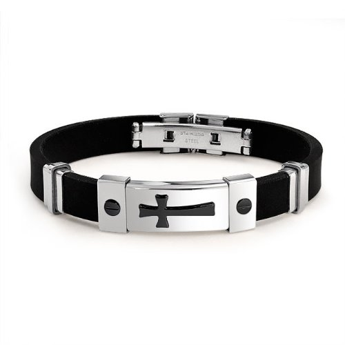 Bling Jewelry Two Tone Black Stainless Steel Mens Cross ID Bracelet Rubber 8in