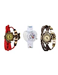 ANALOG KIDS WATCH WITH HELLO KITTY CARTOON PRINTED ON DIAL AND STRAP WITH 2 FREE WOMEN BRACELET WATCH-SET OF 3 - B01BF9T9II