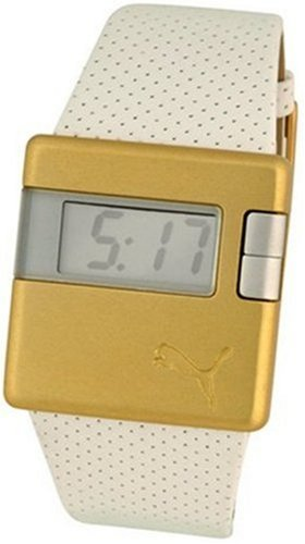 Puma Sirius Unisex White Leather Strap And Gold LCD Dial Watch
