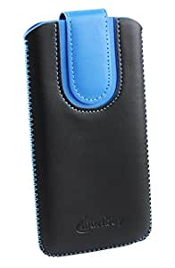 Emartbuy® Black / Blue Plain Premium PU Leather Slide in Pouch Case Cover Sleeve Holder ( Size LM2 ) With Pull Tab Mechanism Suitable For Lava A76