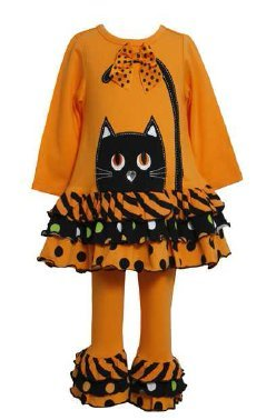 Orange Cat Face Tiered Dot Striped Tunic Set with Bracelet for Mom