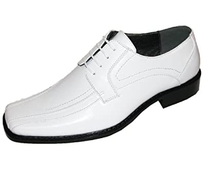 bolano mens white classic smooth oxford lace up dress shoe