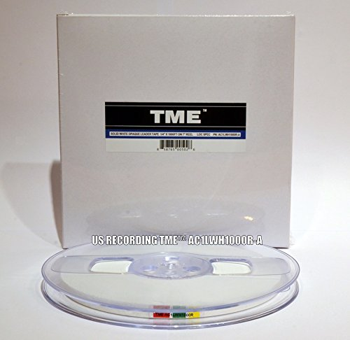 "TME Open Reel Leader Tape Solid White 1/4"" X 1000 Ft on Heavy Duty Reel in TME Logo Box for Maxell, RMGI, AMPEX, and ATR Tape TME PN AC1LWH1000R-A"