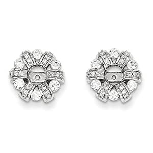 14k White Gold Diamond Circle Earrings Jacket - JewelryWeb