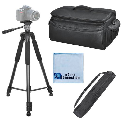 75 Inch Elite Series Full Size Camera Tripod + Extra Large Soft Padded Camcorder Equipment Case For Canon Eos C300, Eos C500 4K, Xh-A1S, Xh-G1, Xh-G1S, Xl2, Xa10, Xa20, Xa25, Xf100, Xf105, Xf300, Xf305 & More... + Microfiber Cloth