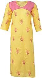 ALMAS Lucknow Chikan Women's Cotton Regular Fit Kurti (Yellow and Pink)