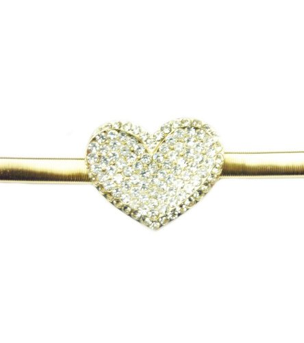 TdZ Metallic Skinny Coil Stretch Belt with Crystal Heart Buckle (Gold) (Gold Coil Belt compare prices)