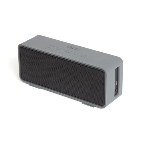 Mpulse Go Rechargeable Portable Bluetooth Wireless Stereo Speaker Box With 3.5Mm Aux Port (Gunmetal Sleek Grey & Black)
