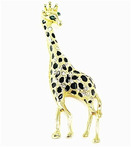 Elegant Giraffe Pin Brooch C17 Crystal Black Gold Tone