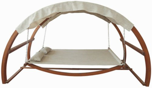 Double Arched Wooden Swing Hammock Bed w/ Canopy 2 Person Outdoor Chair