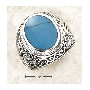 Mens Bezel Set Turquoise Ring With Tapered Floral Ban - Size 10.0