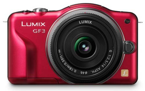 Panasonic Lumix DMC-GF3 12.1MP Compact System Camera Kit with 14mm Lumix G f/2.5 ASPH Lens - Red