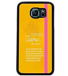 PrintDhaba Sunsign Taurus D-1223 Back Case Cover for SAMSUNG GALAXY S6 EDGE (Multi-Coloured)
